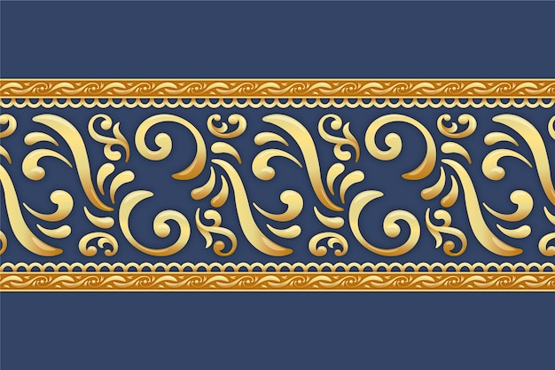 Golden ornamental border with blue background
