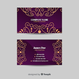Golden ornamental business card template