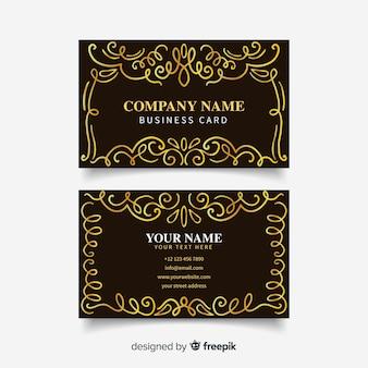 Golden ornamental business card template