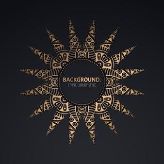 Золотой орнамент круг кадр шаблон.