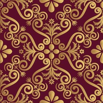 Golden ornamental elements on red background
