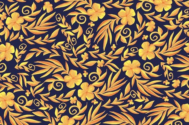 Golden ornamental floral background