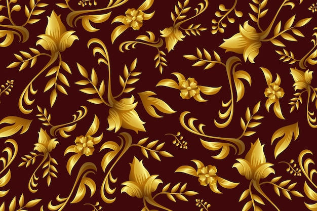 Golden ornamental floral wallpaper concept