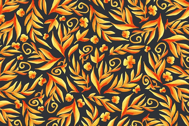 Golden ornamental floral wallpaper