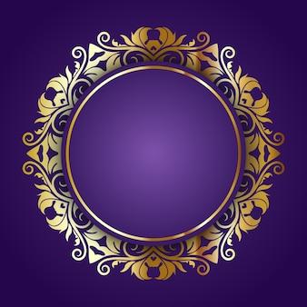 Golden ornamental frame on a purple background