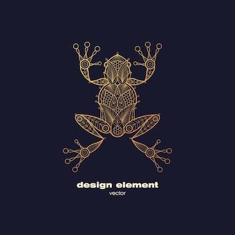 Golden ornamental frog logo