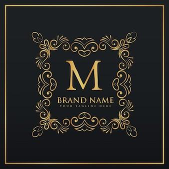 Decorativo floreale monogramma logo bordo cornice per la lettera m