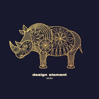 Golden ornamental rhino logo