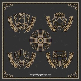 Golden ornamental shields