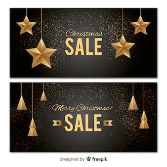 Golden ornaments christmas sale banner