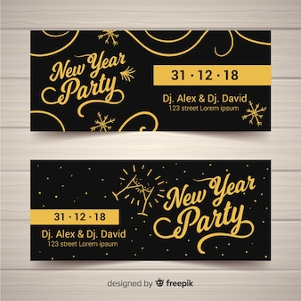 Golden ornaments new year party banner