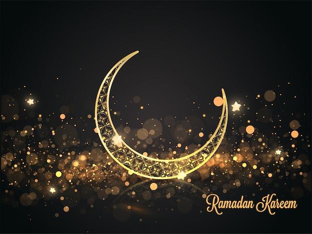 Golden ornate crescent moon with stars and bokeh light effect on black background for ramadan kareem celebration.