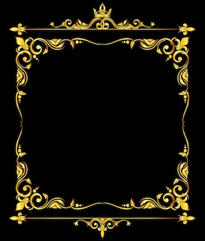 Golden ornate royal fleur de lys frame black background
