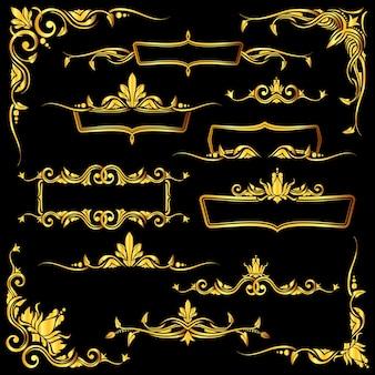 黄金の華麗なベクトルフレーム