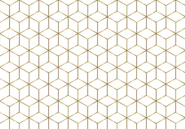 Golden outline geometric seamless pattern.
