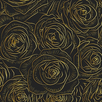 Golden outline rose flowers on black background