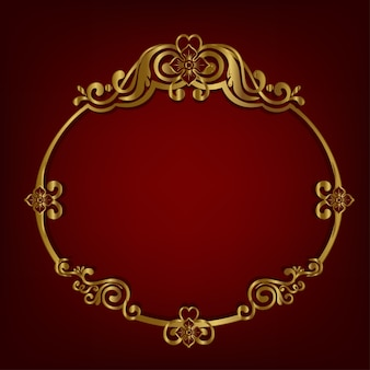 Golden of oval frame antique classic style