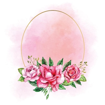 결혼식 로고 초대 카드 등 장미 꽃과 황금 타원형 프레임