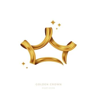 王冠の形をした金色のペイントブラシストローク金色のリボン