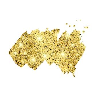 白い背景の上の金色のペンキきらびやかな背景。ゴールドの輝きとキラキラ効果のある背景。テキスト用の空のスペース。ベクトルイラスト