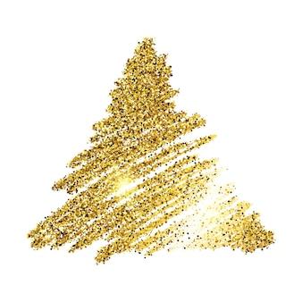 Золотая краска рисованной сверкающий треугольник на белом фоне. фон с золотыми блестками и эффектом блеска. пустое место для вашего текста. векторная иллюстрация