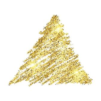 흰색 바탕에 황금 페인트 손으로 그린 빛나는 삼각형. 골드 반짝임과 반짝이 효과가 있는 배경. 텍스트를 위한 빈 공간입니다. 벡터 일러스트 레이 션