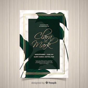 Golden palm leaves wedding invitation