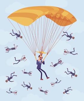 ビジネスマンのためのゴールデンパラシュートの利点。解雇された上級管理職は会社から多額の安全な支払いを受け取り、従業員は保護なしで解雇され、助けます。ベクトルイラスト