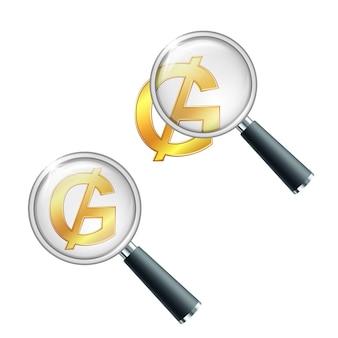 Золотой знак валюты парагвайских гуарани с увеличительным стеклом. найдите или проверьте финансовую устойчивость. иллюстрация на белом фоне