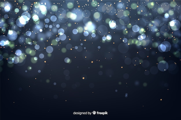 Golden particles background in bokeh style