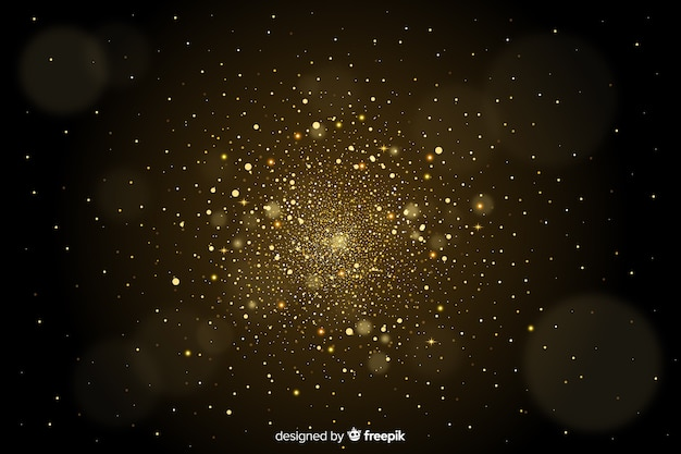 Golden particles blurred decorative background