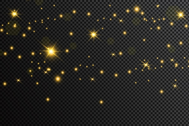 Golden particles. glowing yellow bokeh circles abstract gold luxury background