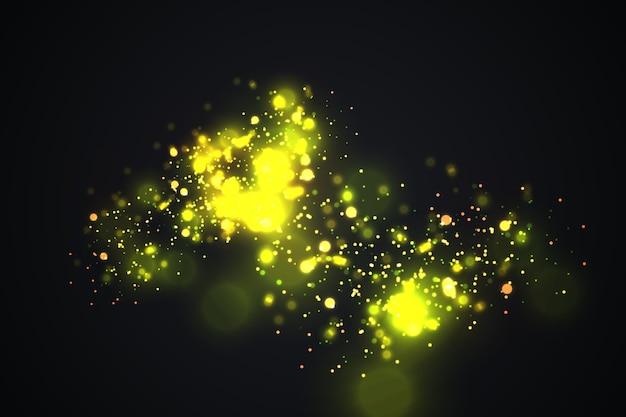 Золотые частицы. светящиеся желтые боке круги абстрактный золотой роскошный фон