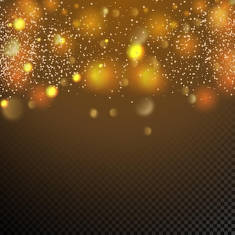 Golden particles glowing yellow bokeh circles abstract gold luxury background