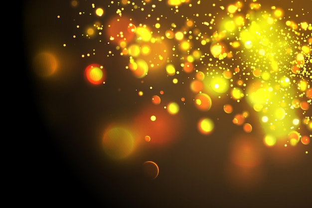 金色の粒子輝く黄色のボケ味の円抽象的な金の豪華な背景