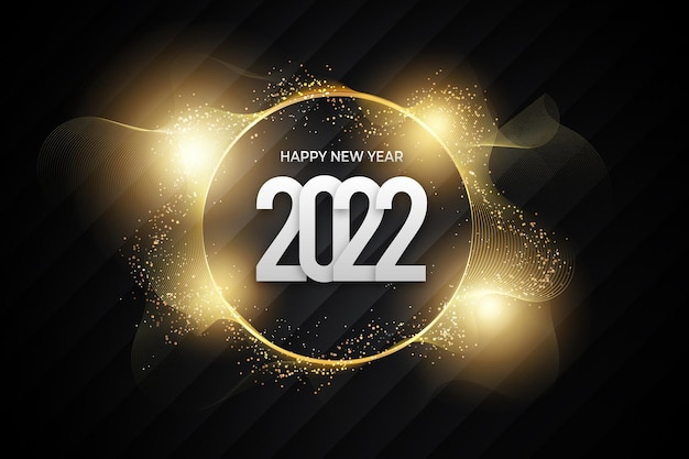 Golden particles new year 2022 with black gold backround style