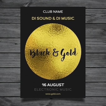 Golden party poster template
