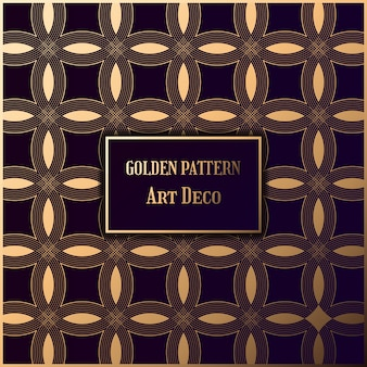 Golden pattern in style gatsby. art deco pattern in dark background.