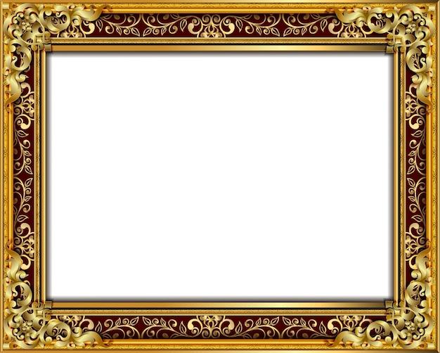 Golden photo frame with border line floral
