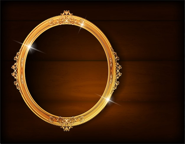 Golden photo oval frame on wood wall