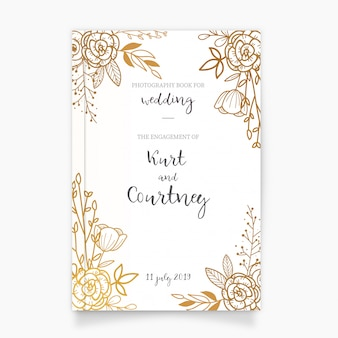 Golden Photography Book Cover for Wedding