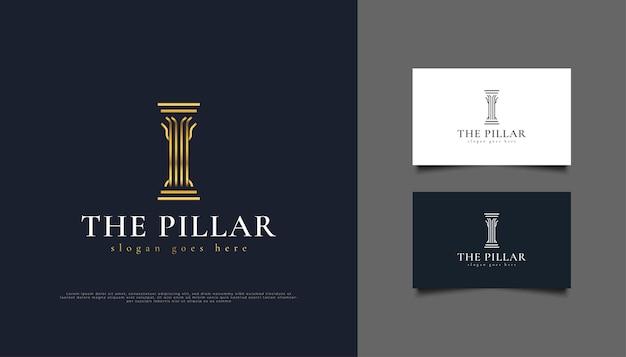 Логотип или символ golden pillar, подходящий для логотипов юридических фирм, инвестиций или недвижимости