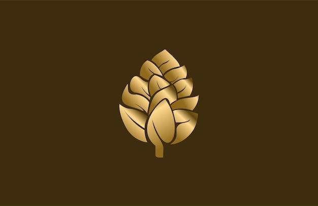Golden pine cone modern logo