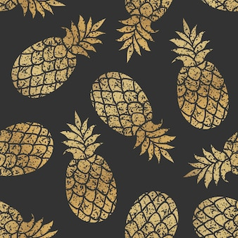 Golden pineapples seamless vector pattern