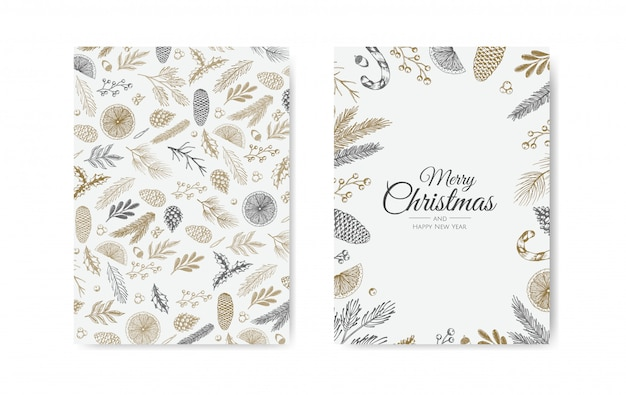 Golden plants christmas cards