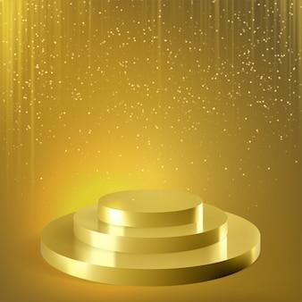 Золотой подиум с блестками конфетти фон