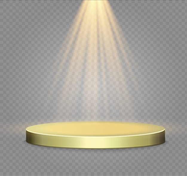 透明な背景に黄金の表彰台。明るいlights.spotlightの勝者の表彰台。