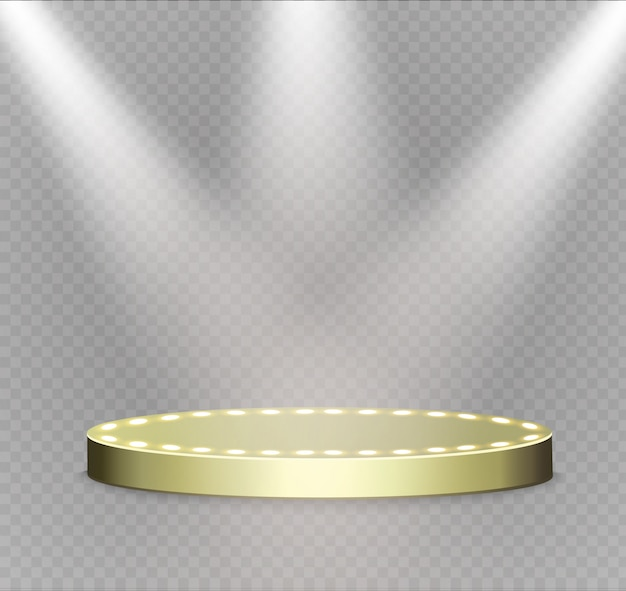 Golden podium on a transparent background.the podium of winners with bright lights.spotlight.
