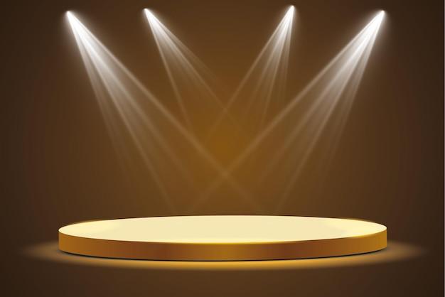 暗い背景にスポットライトを当てた黄金の表彰台、そもそも名声と人気。 。