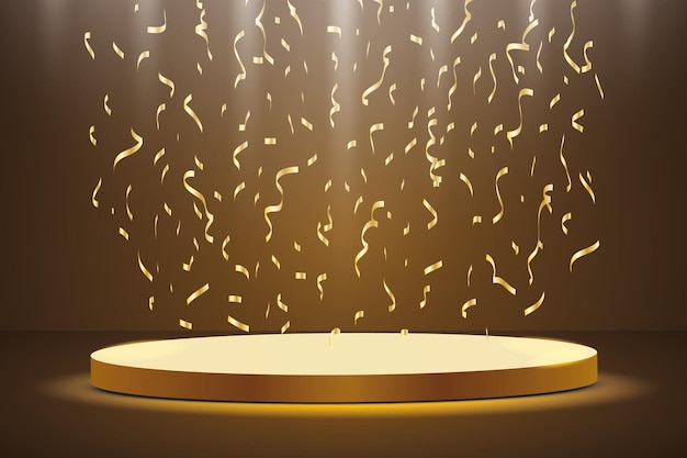 Golden podium with a spotlight on a dark background, with fog and confetti, the first place, fame and popularity.